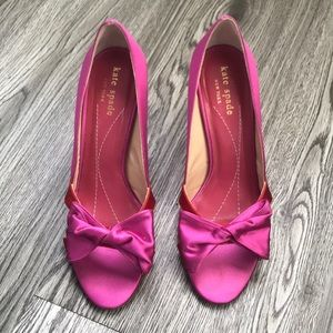 Kate Spade pink & red satin pumps